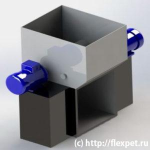 Получение флекс хлопья- шредер четырех роторный
